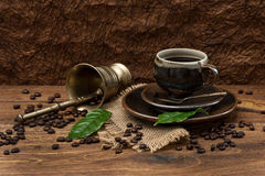 Vintage still life with cup of coffee Stock Images