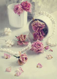 Vintage still life with dry roses Stock Images