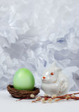 Vintage still life with easter egg and bunny Stock Photography