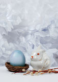 Vintage still life with  egg and easter bunny Stock Photo