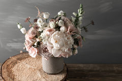 Vintage Still Life With Flowers Stock Photo