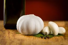 Vintage still life with garlic, pepper Royalty Free Stock Photography