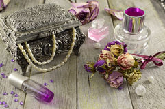 Vintage still life with lilac fragrances Royalty Free Stock Photos