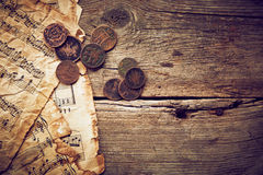 Vintage still life with old coins Stock Photo