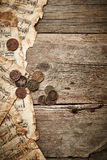 Vintage still life with old coins Royalty Free Stock Photos