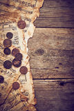 Vintage still life with old coins Royalty Free Stock Photo