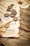 Vintage still life with old coins Stock Photography