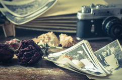 Vintage still life with old photos Royalty Free Stock Image
