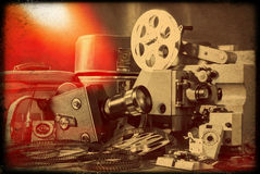 Vintage still-life. With old retro camera in brown colors royalty free stock photography