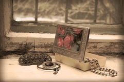 Vintage still life on an old window Royalty Free Stock Images