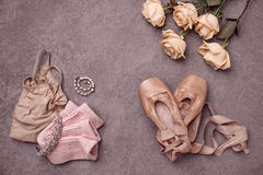 Vintage still Life with roses and Ballet Shoes Stock Image