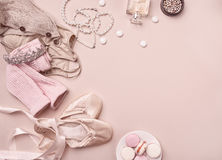Vintage still Life with roses and Ballet Shoes Royalty Free Stock Images