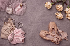 Vintage still Life with roses and Ballet Shoes Stock Photos