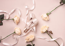 Vintage still Life with roses and Ballet Shoes Royalty Free Stock Image