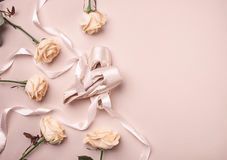 Vintage still Life with roses and Ballet Shoes Royalty Free Stock Photography