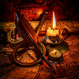 Vintage still life. Vintage items on ancient map. Royalty Free Stock Photos