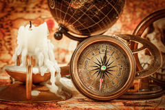 Vintage still life. Vintage items on ancient map. Stock Photography