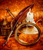 Vintage still life. Vintage items on ancient map. Royalty Free Stock Photography