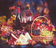 Vintage still life. Wine and grapes in a dramatic light Royalty Free Stock Photography