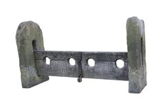Vintage Stocks. A Set of Stone of Wooden Medieval Stocks stock images