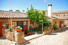 Vintage stone home in old Portugal village. stock photo