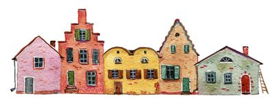 Vintage  stone houses pressed against each other. Watercolor hand drawn colorful illustration Royalty Free Stock Photography