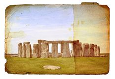 Vintage Stonehenge image on old paper. Royalty Free Stock Images