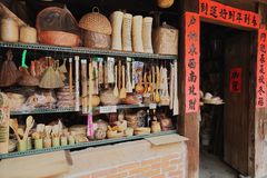 Vintage store of handmade bamboo daily essentials Stock Photos