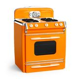 Vintage stove 50s. Orange vintage retro stove in isolated on white. 3d illustration Stock Image