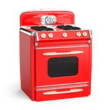 Vintage stove 50s. Red vintage retro stove in isolated on white. 3d illustration Royalty Free Stock Image