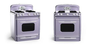 Vintage stove 50s. Vintage retro stove in front view isolated on white. 3d illustration Stock Photos