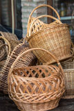 Vintage straw basket Royalty Free Stock Photo