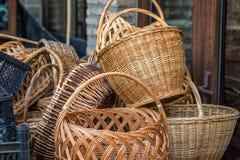 Vintage straw basket Stock Image