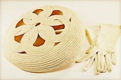 Vintage straw bonnet Stock Photos