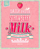 Vintage Strawberry Milk poster. Vector illustratio Stock Photo