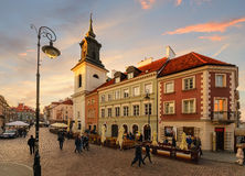 Vintage street and Church in the old town of Warsaw. Royalty Free Stock Images