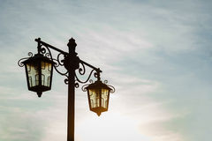 Vintage street lamp against  night sky Stock Photos