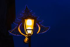 Vintage street lamp, and golden bokeh lights overlay Stock Photography