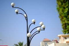 Vintage street lamp over blue sky. Selective focus Royalty Free Stock Image
