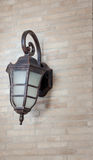 Vintage street lamp style on brickwork wall Stock Images