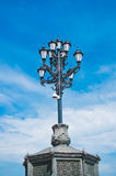 Vintage Street Lantern on Blue Sky Background. Moscow, Russia royalty free stock images