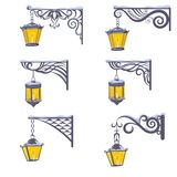 Vintage street lanterns with snow Royalty Free Stock Photo