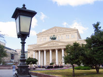Vintage street light and Bolshoi theater in Moscow Stock Photography
