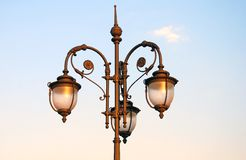 Vintage street light in Moscow. Horizontal photo. Royalty Free Stock Photography