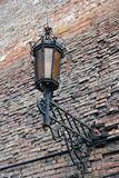 Vintage street light on old tower. Kremlin in Kolomna, Russia. Royalty Free Stock Photography