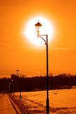 Vintage street light in a winter park Royalty Free Stock Images