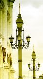 Vintage street lights by Christ the Savior Church Royalty Free Stock Images