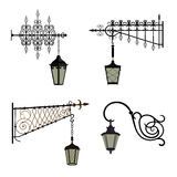 Vintage street lights. Set vintage street lamps. Vector illustration Stock Images