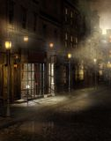 Vintage street at night vector illustration