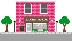 Vintage street view with Bakery House Royalty Free Stock Photography